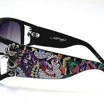 Ed Hardy Sunglasses Womens Snake & Roses Black Swarovski Crystal Frame Ehs046 Photo