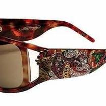 Ed Hardy Sunglasses Womens Snake & Roses Tortoise Swarovski Crystal Frame Ehs046 Photo