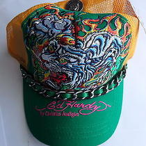 Ed Hardy Trucker Cap Flaming Tiger Chain Hat Nwt Green Yellow Gold Photo