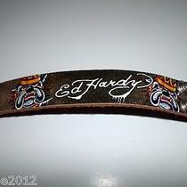 Ed Hardyunisexleather Braceletbulldogs/tattoo Style Crown Leather Adjustable Photo