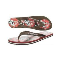 Ed Hardy Women Skull Flip Flop Sandal Thong Bc Brown Sz 5 Euro 35/36 Nib Photo
