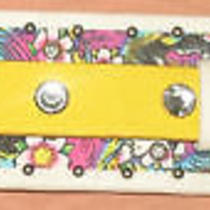 Ed Hardy Yellow Leather Cuff Strap Bracelet New Photo