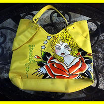 Ed Hardy Yellow Vinyl Tote Bag School Shopping Travel Purse  Photo