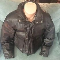 Eddie Bauer Black Leather Goose Down Insulated Men's Puffer Bomber Jacket Size L Photo