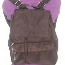 Eddie Bauer Black Nylon Drawstring Flap-Front Backpack. Excellent Condition Photo