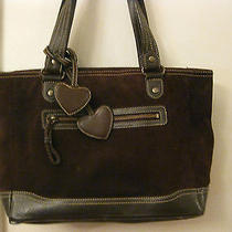 Eddie Bauer Brown 100% Suede Leather Tote Shopper  Photo