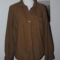 Eddie Bauer Button Down Shirt Olive Green Outdoor 100% Cotton Size Xl Photo
