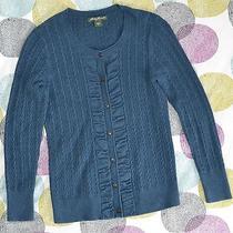 Eddie Bauer Cable Cardigan Sweaterblue Heathermedium M Photo