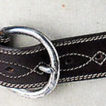 Eddie Bauer Dark Brown W/ White Stitching Western Style Womens Belt Size Large  Photo
