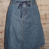 Eddie Bauer Denim Tie Waist Cargo Skirt Size 2p Lightweight Light Wash  Photo