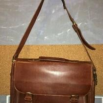 Eddie Bauer Distressed Solid Brown Leather Flap Laptop Messenger Bag 11