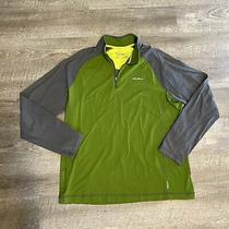 Eddie Bauer Green and Gray Athletic Long Sleeve 1/4 Zip Mens Shirt Photo