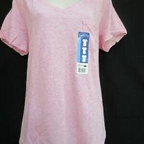Eddie Bauer Heather Blush v Neck  Pocket Short Sleeve Top Size L New With Tag Photo