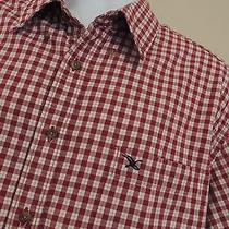 Eddie Bauer Heavier Cotton Shirt  Red Checks  L/s  Excellent  Mens Xl   Photo