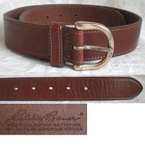 Eddie Bauer (Italy) Belt Italian Leather Wide Brown Gold Women's Medium M (29) Photo