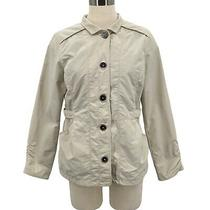 Eddie Bauer Jacket Travex Button Up Beige Ruched Nylon Coat Women's Size Pm Photo