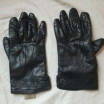 Eddie Bauer - Ladies Brown Leather Winter Gloves - Fleece Lining - Size Medium  Photo