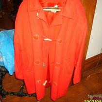 Eddie Bauer Ladies Red Wool Toggle Closure Coat Size M Photo