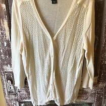 Eddie Bauer Long Cardigan Sweater Button Front Beige Cream Crochet Size Txl Photo