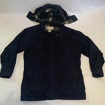 Eddie Bauer Men's Navy Blue Full Zip Jacket Plaid Lined Sz Xl Vintage W/hood Photo