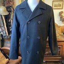 Eddie Bauer Men's Navy Double Breasted Pea Coat Size Medium Perfect Condition Photo