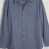 Eddie Bauer Mens Large Dark Steel Blue Plaid Long Sleeve Button Front Shirt Photo