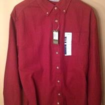 Eddie Bauer Mens Relaxed Fit Nwt Large Maroon Button Down Flannel Long Sleeve Photo