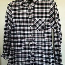 Eddie Bauer Navy White Red Plaid Long Sleeve Button-Up Shirt Size Xs Photo