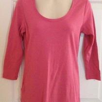 Eddie Bauer Outdoor S Womens Pink Scoop Neck 3/4 Length Sleeve Knit Top Tee  Photo
