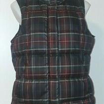 Eddie Bauer Red & Black Plaid Zip-Front Puffer Down Vest Womens Size M Photo