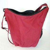 Eddie Bauer Red Canvas Backpack Purse Convertible Medium Travel Photo