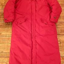 Eddie Bauer Red Insulated Goosedown Long Maxi Coat Faux Fur Collar Sz Large Photo