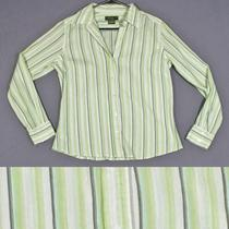 Eddie Bauer Size M 8 10 Green White Aqua Brown Striped Cotton Shirt Top Blouse Photo