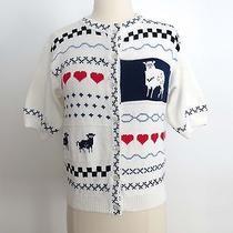 Eddie Bauer Size Medium Button Down Fair Isle White Sweater Hearts Lamp Sheep Photo