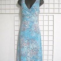 Eddie Bauer Size Medium Dress in Blue Multi-Color Dot Print  Photo