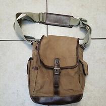 Eddie Bauer Vertical Messenger Bag Cross Body Brown Canvas Travel Shoulder Tote Photo