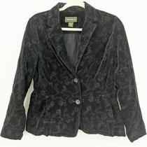 Eddie Bauer Women's Blazer Jacket Size 8 Black Cotton Embroidered 2 Button  Photo
