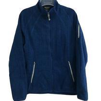 Eddie Bauer Women's Fleece Sweater Jacket  Zip Up Dark Blue Size Large Photo