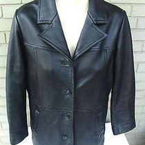 Eddie Bauer Women's Insulated Black Leather Heavy Blazer Car Coat Jacket Small Photo