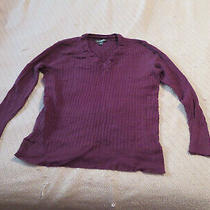 Eddie Bauer Womens Long Sleeve Vneck Sweater Maroon - Size Xxl Photo