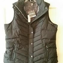 Eddie Bauer Womens Down Vest Black Size 1x  Fur Lined Photo