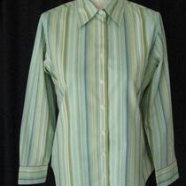 Eddie Bauer Wrinkle Resistant Green Aqua Striped Shirt  Sz Ps Photo