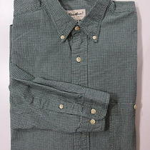 Eddie Bauer Xlt Xl Tall Plaid Button Down Front Green Thick Cotton Long Slve V8 Photo