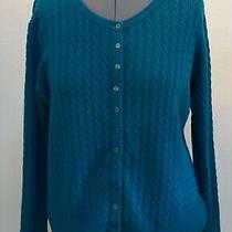 Eddie Bauer Xxl Teal Blue Cotton Cable Knit Long Sleeve Cardigan Sweater Photo