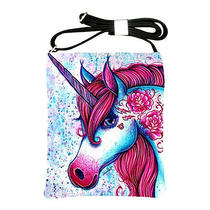 Edgy Punk Rock Tattooed Unicorn Fantasy Pink Horse Animal Shoulder Bag Leather Photo
