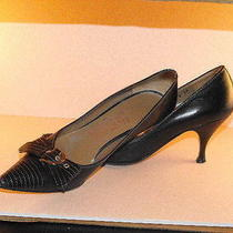 Edgy Salvatore Ferragamo Black Calfskin Pumps W/stitched Toes & Silver Buckles Photo
