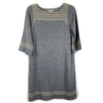 Edme & Esyllte Anthro Gray Anstice Embroidered Tunic Sweater Dress Womens Size S Photo