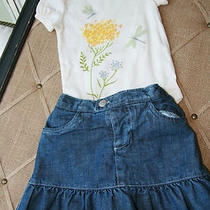 Eeuc Baby Gap Infant Girl Denim Skirt Floral Top Outfit Size 6-12 Months Photo