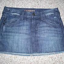 Eeuc Women's Express Jeans Mini Jean Skirt Sexy Denim Blue Size 0 100% Cotton Photo