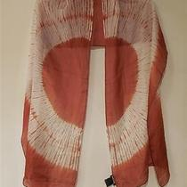 Eileen Fisher 158 Silk Shibori Sunset Wrap Scarf Rust 76